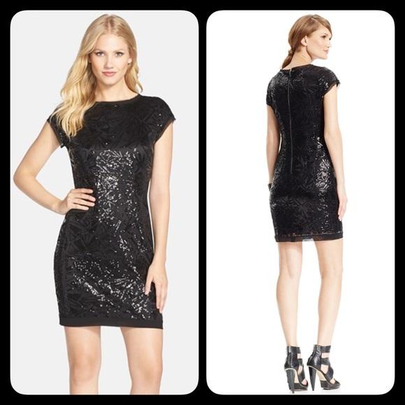 9da96a6ebd6d NWT Vince Camuto Short Sleeve Black Sequin Dress